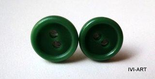 Kolczyki Guziki zielone
