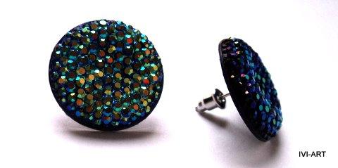Kolczyki Koła kryształkowe niebieskie/tęczowe