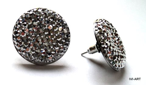 Kolczyki Koła kryształkowe srebrne