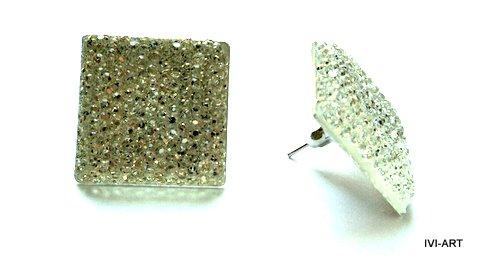 Kolczyki Kwadraty kryształkowe białe