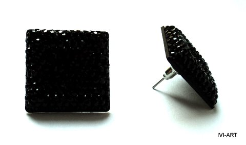 Kolczyki Kwadraty kryształkowe czarne