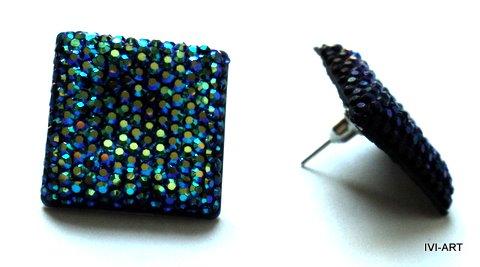 Kolczyki Kwadraty kryształkowe niebieskie/tęczowe