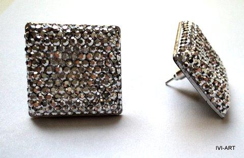 Kolczyki Kwadraty kryształkowe srebrne